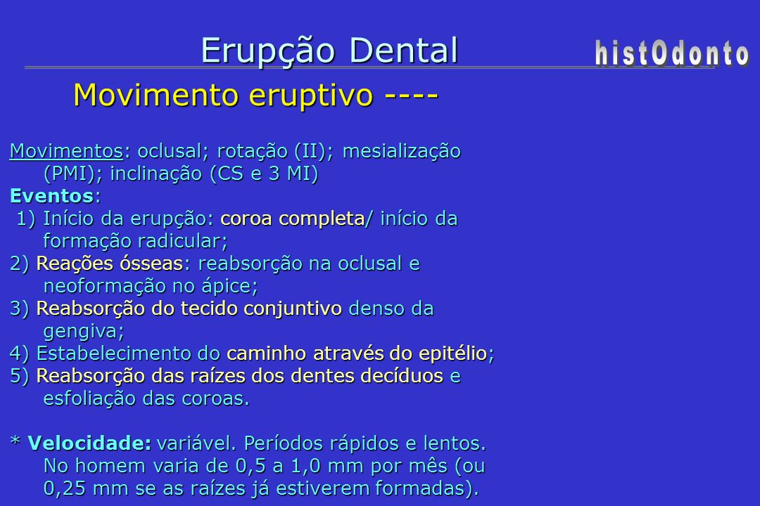 Erupção Dental histOdonto Movimento eruptivo ----