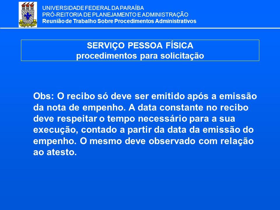 SERVIÇO PESSOA FÍSICA procedimentos para solicitação