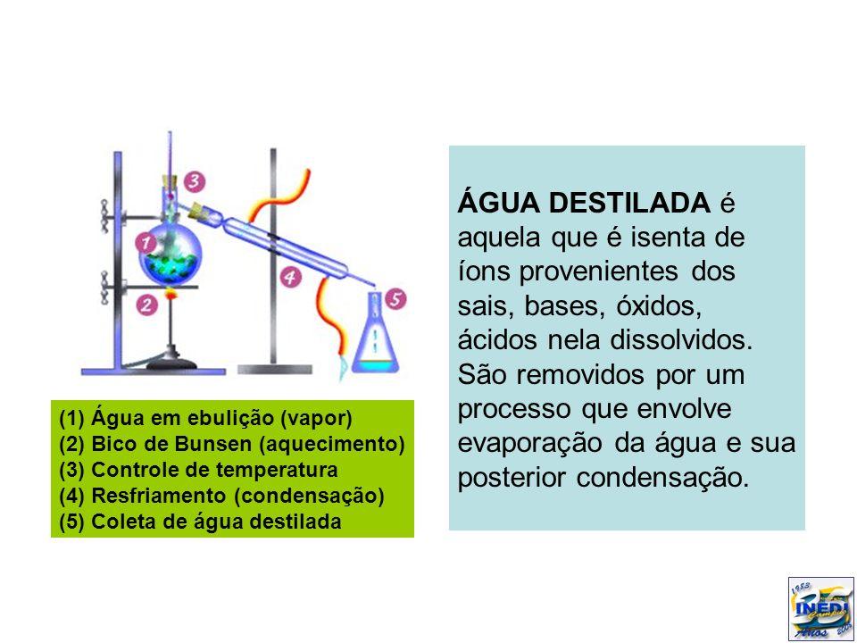 ÁGUA DESTILADA é aquela que é isenta de íons provenientes dos sais, bases, óxidos, ácidos nela dissolvidos. São removidos por um processo que envolve evaporação da água e sua posterior condensação.