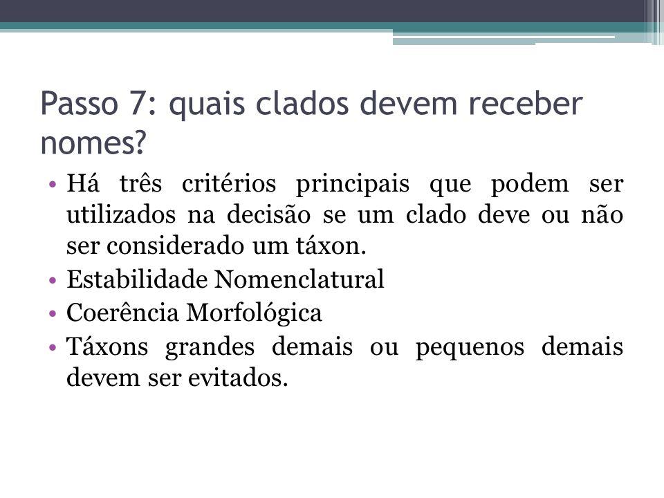 Passo 7: quais clados devem receber nomes
