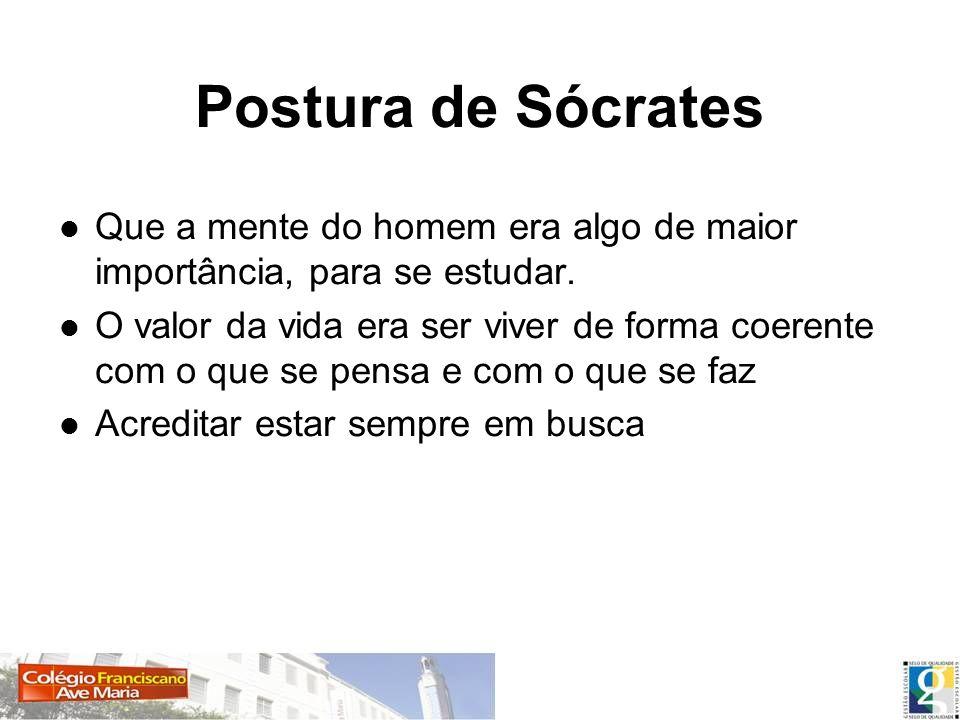 Postura de SócratesQue a mente do homem era algo de maior importância, para se estudar.