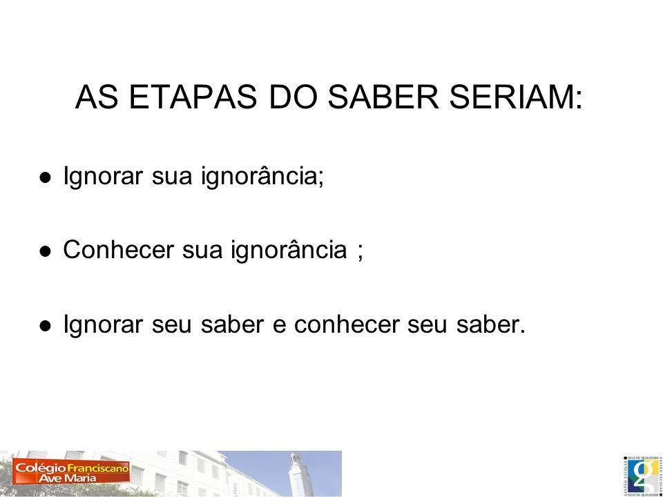 AS ETAPAS DO SABER SERIAM: