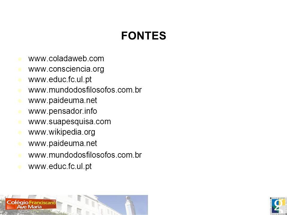 Fontes pesquisadas FONTES www.coladaweb.com www.consciencia.org