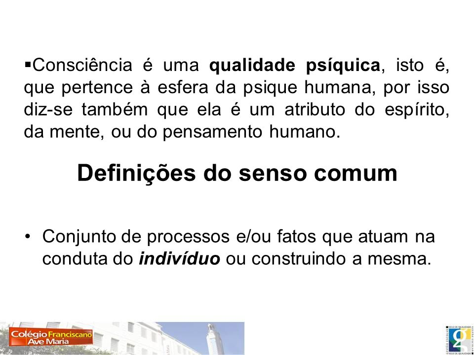 Definições do senso comum