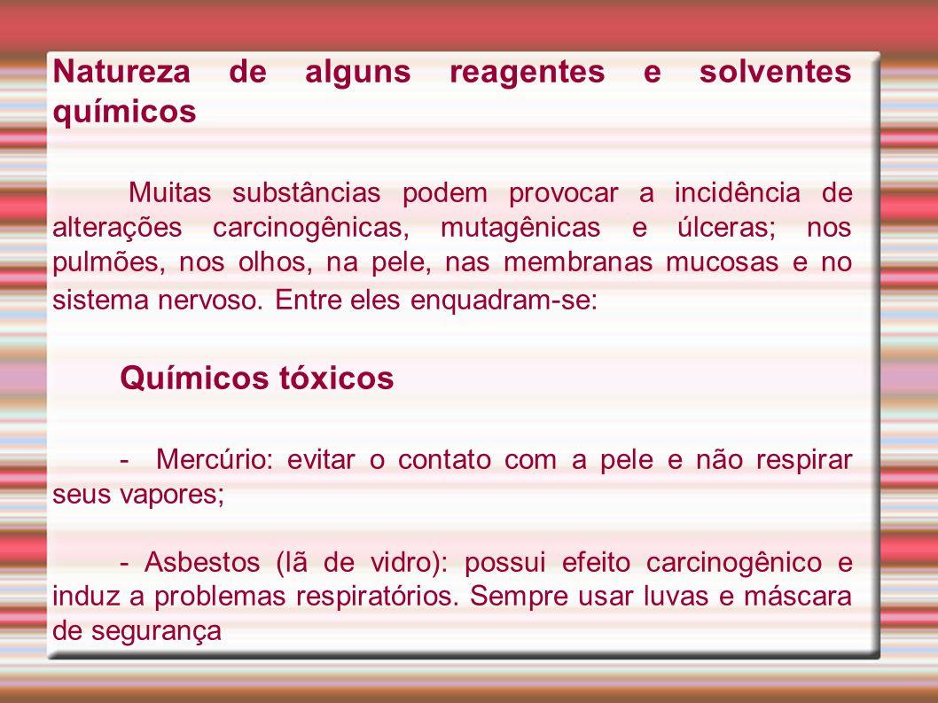 Natureza de alguns reagentes e solventes químicos