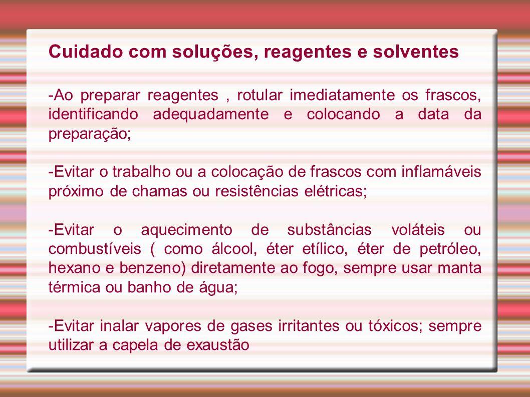 Cuidado com soluções, reagentes e solventes
