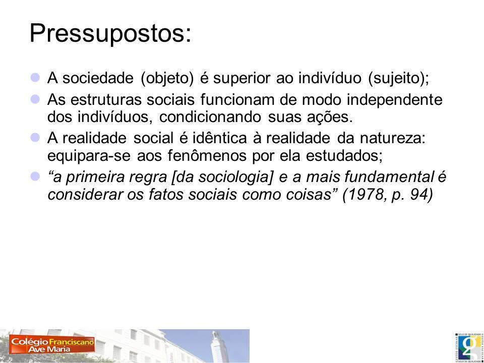 Pressupostos: A sociedade (objeto) é superior ao indivíduo (sujeito);