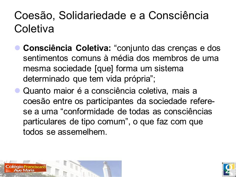 Coesão, Solidariedade e a Consciência Coletiva