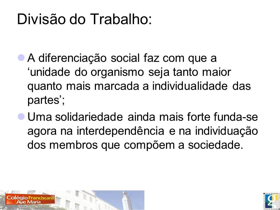 Divisão do Trabalho: A diferenciação social faz com que a 'unidade do organismo seja tanto maior quanto mais marcada a individualidade das partes';