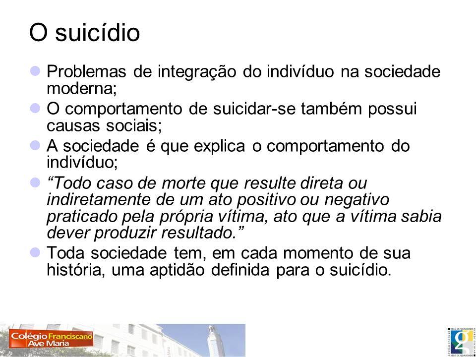O suicídio Problemas de integração do indivíduo na sociedade moderna;