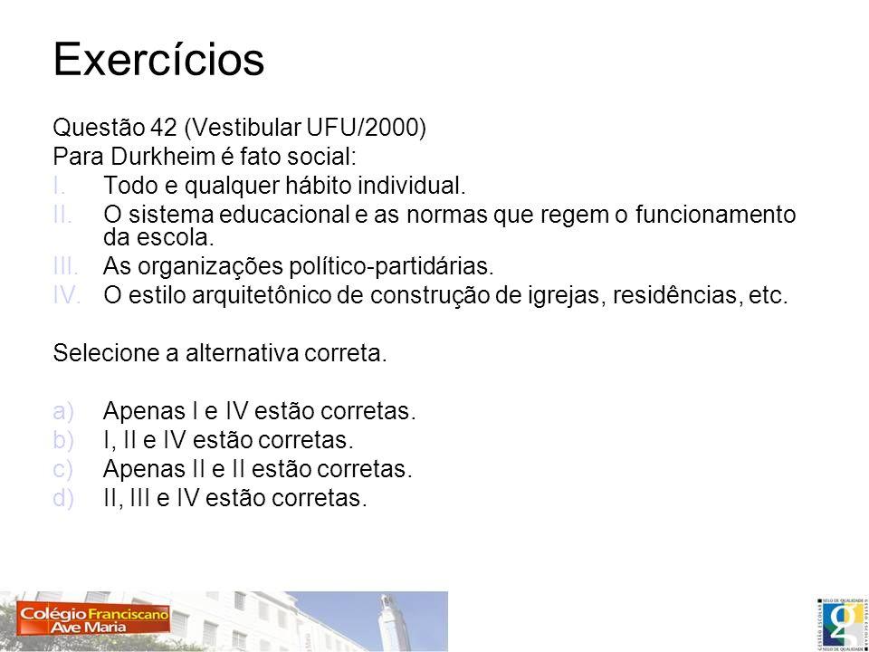 Exercícios Questão 42 (Vestibular UFU/2000)