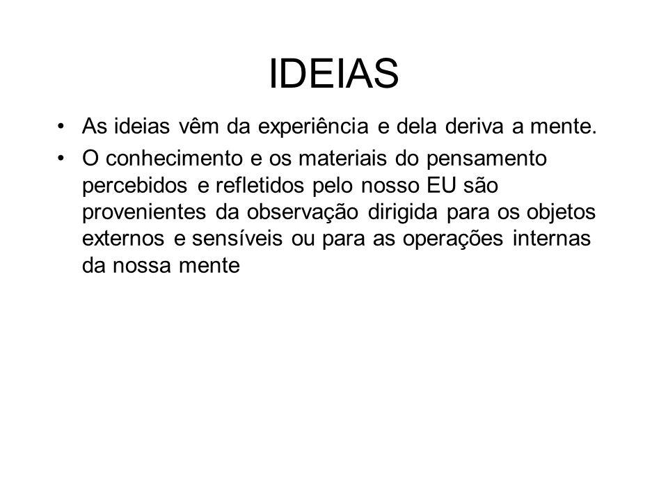 IDEIAS As ideias vêm da experiência e dela deriva a mente.