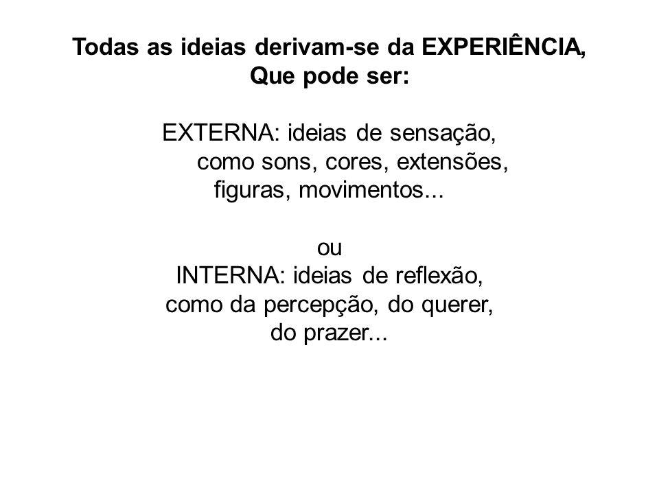 Todas as ideias derivam-se da EXPERIÊNCIA,