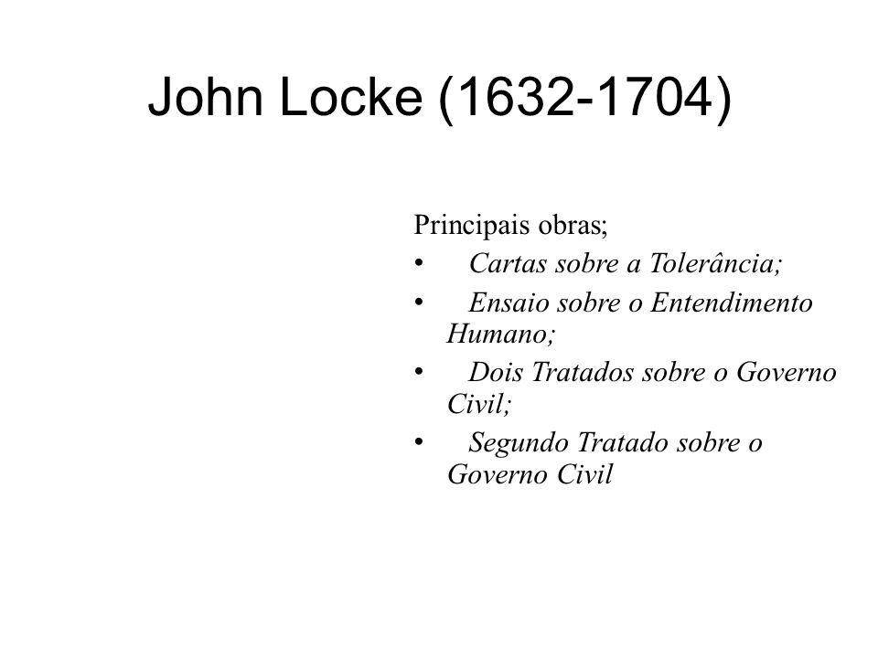 John Locke (1632-1704) Principais obras; Cartas sobre a Tolerância;