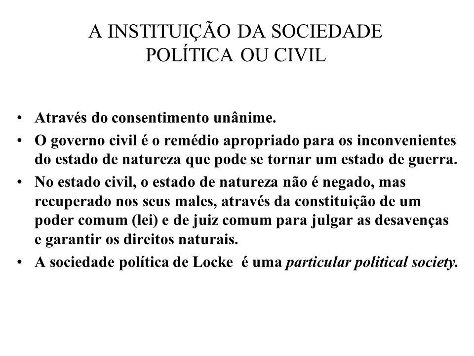 A INSTITUIÇÃO DA SOCIEDADE POLÍTICA OU CIVIL