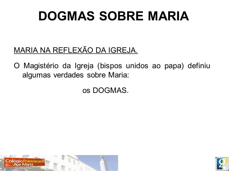 DOGMAS SOBRE MARIA MARIA NA REFLEXÃO DA IGREJA.