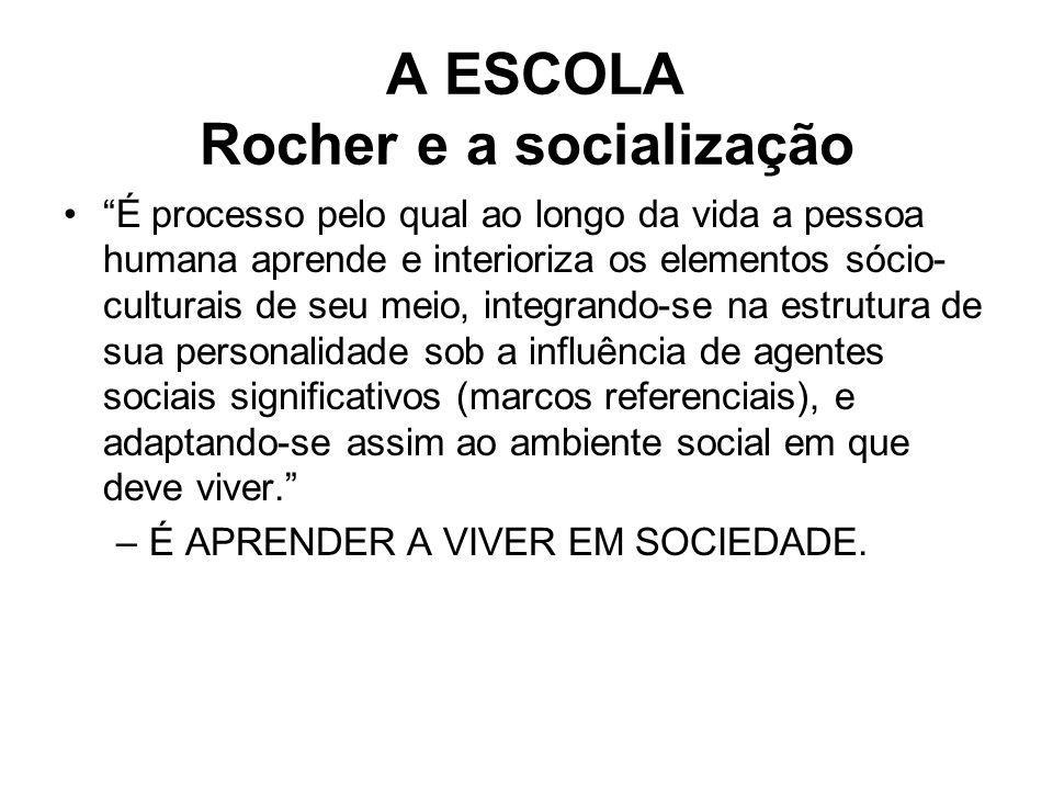 A ESCOLA Rocher e a socialização