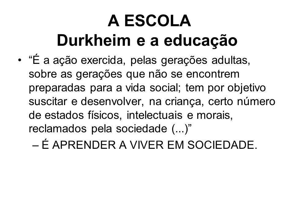 A ESCOLA Durkheim e a educação