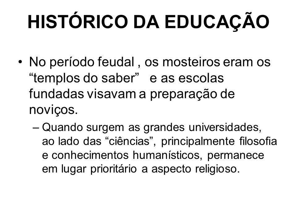 HISTÓRICO DA EDUCAÇÃO No período feudal , os mosteiros eram os templos do saber e as escolas fundadas visavam a preparação de noviços.