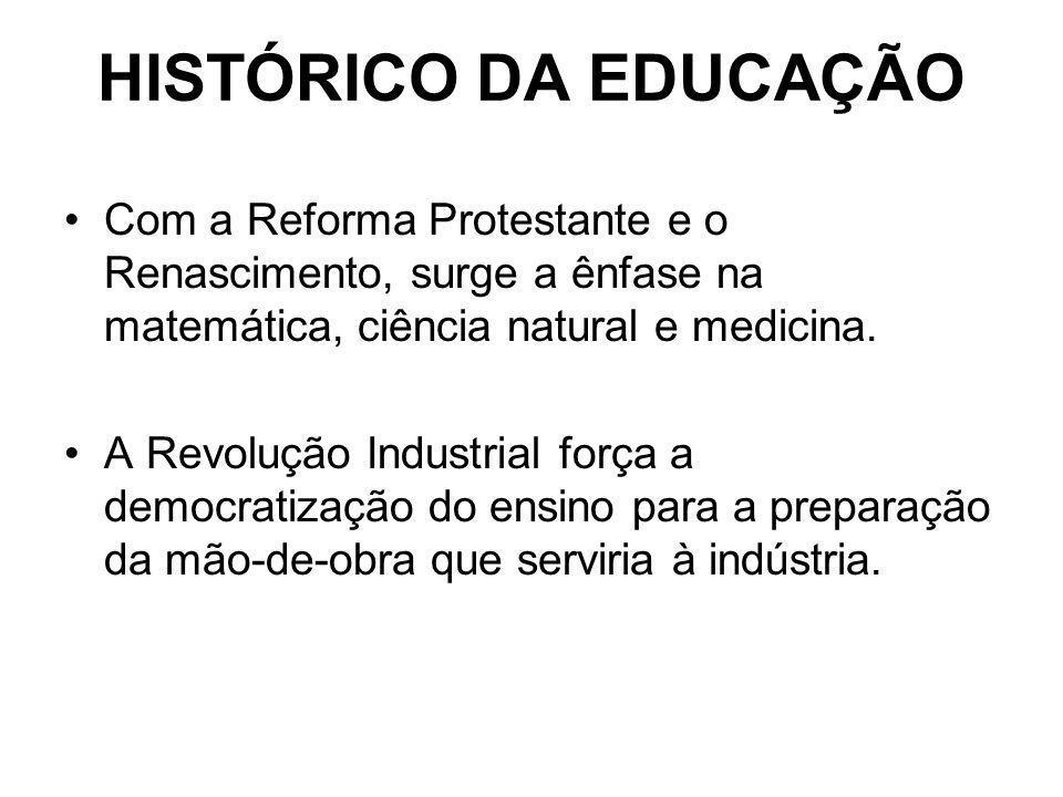 HISTÓRICO DA EDUCAÇÃO Com a Reforma Protestante e o Renascimento, surge a ênfase na matemática, ciência natural e medicina.