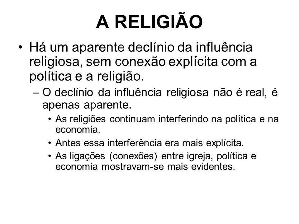 A RELIGIÃO Há um aparente declínio da influência religiosa, sem conexão explícita com a política e a religião.