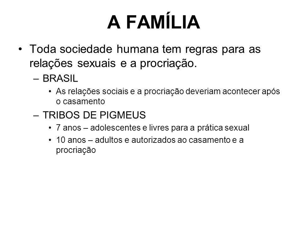 A FAMÍLIA Toda sociedade humana tem regras para as relações sexuais e a procriação. BRASIL.