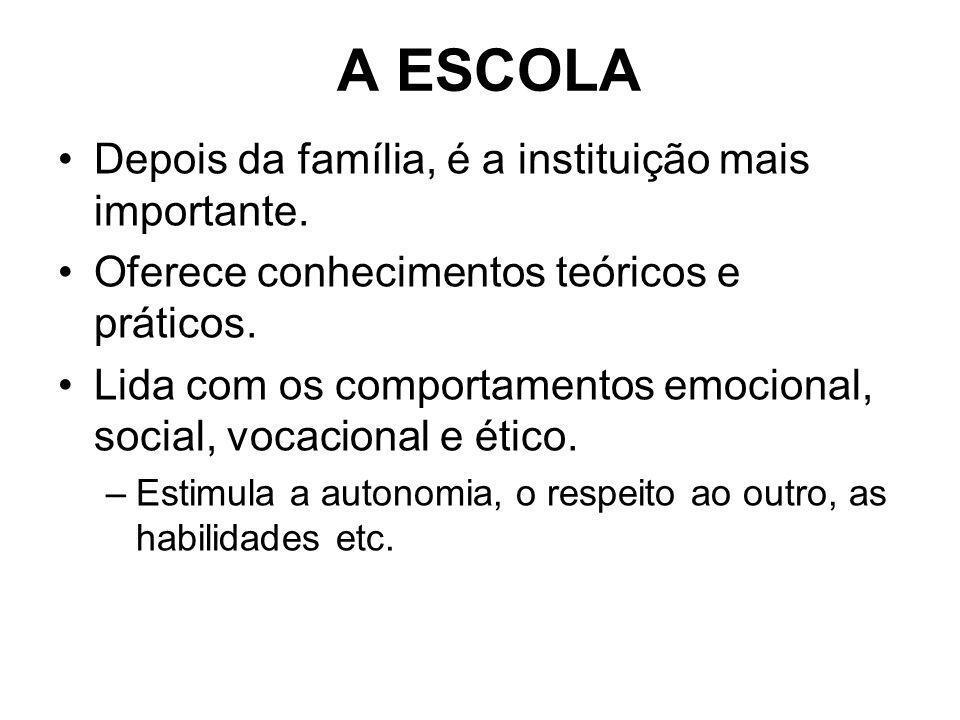 A ESCOLA Depois da família, é a instituição mais importante.