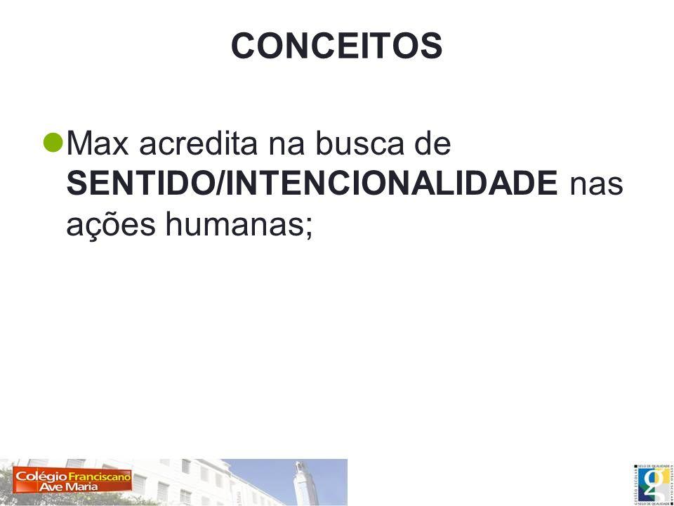CONCEITOS Max acredita na busca de SENTIDO/INTENCIONALIDADE nas ações humanas;