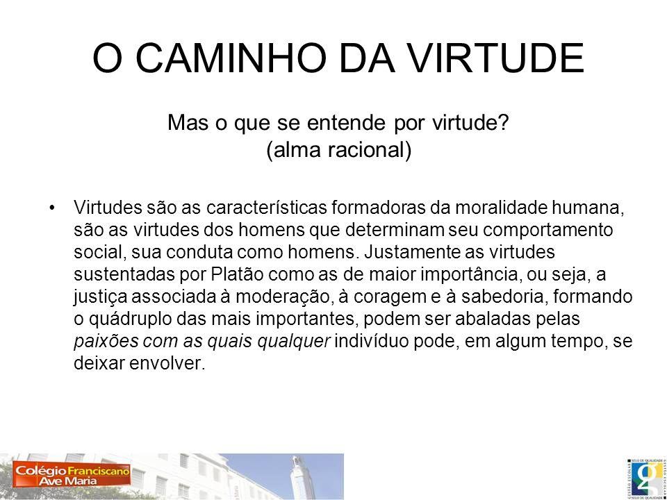 O CAMINHO DA VIRTUDE Mas o que se entende por virtude (alma racional)