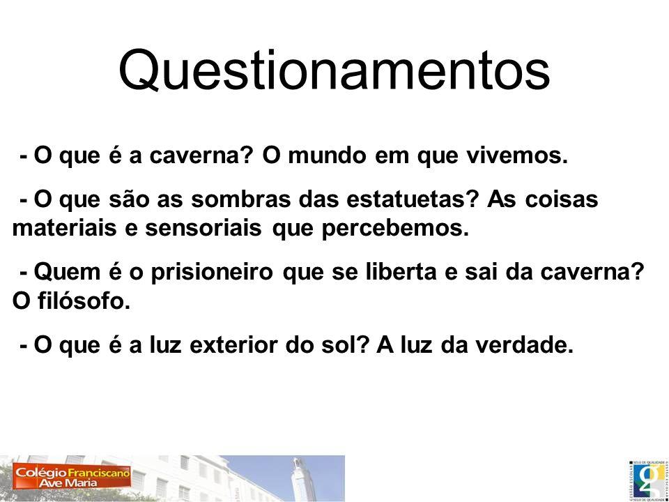 Questionamentos - O que é a caverna O mundo em que vivemos.