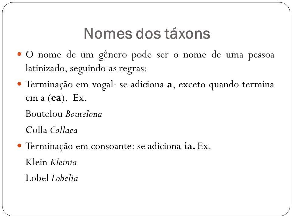 Nomes dos táxons O nome de um gênero pode ser o nome de uma pessoa latinizado, seguindo as regras: