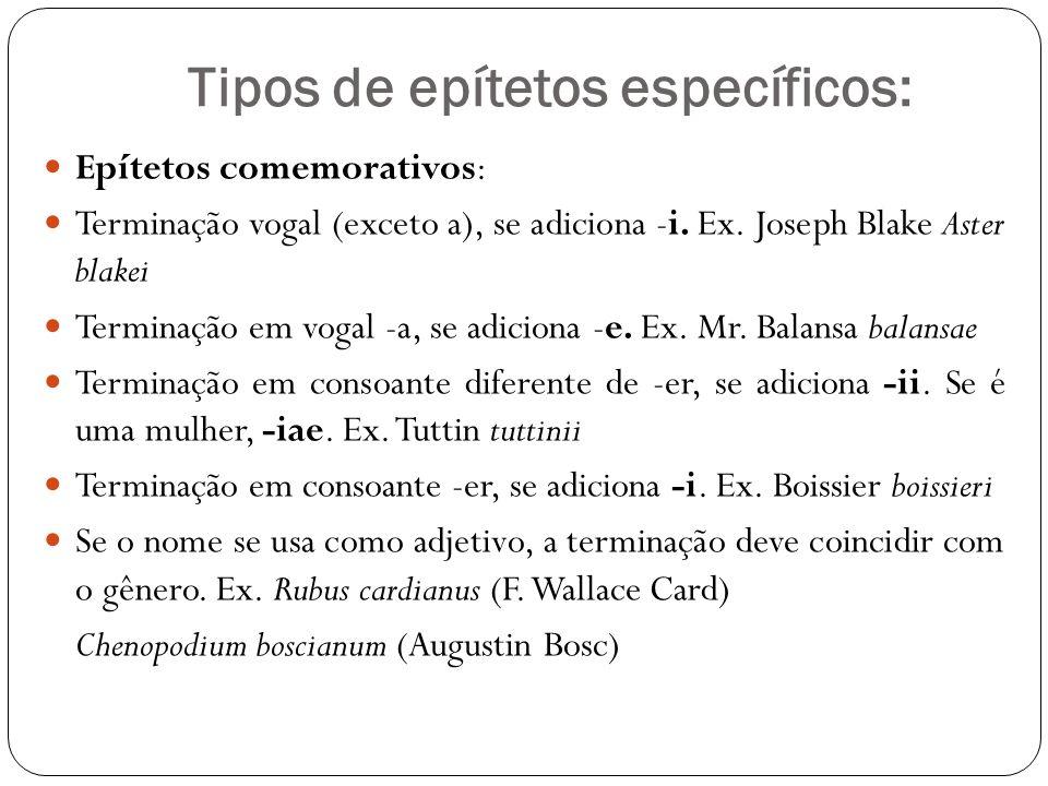 Tipos de epítetos específicos: