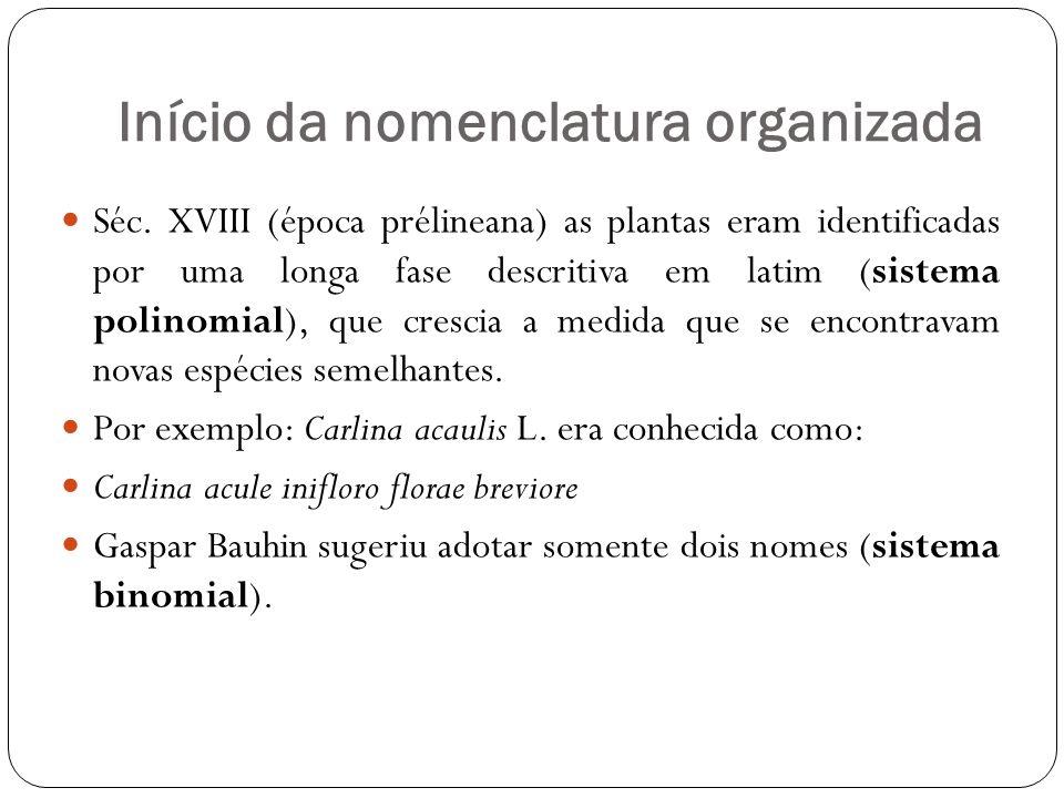 Início da nomenclatura organizada
