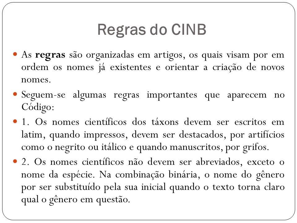 Regras do CINB As regras são organizadas em artigos, os quais visam por em ordem os nomes já existentes e orientar a criação de novos nomes.