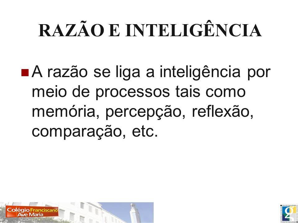 RAZÃO E INTELIGÊNCIAA razão se liga a inteligência por meio de processos tais como memória, percepção, reflexão, comparação, etc.