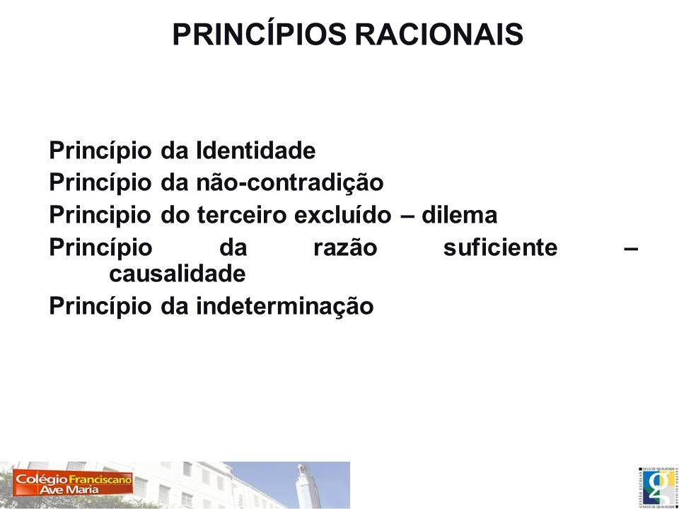 PRINCÍPIOS RACIONAIS Princípio da Identidade