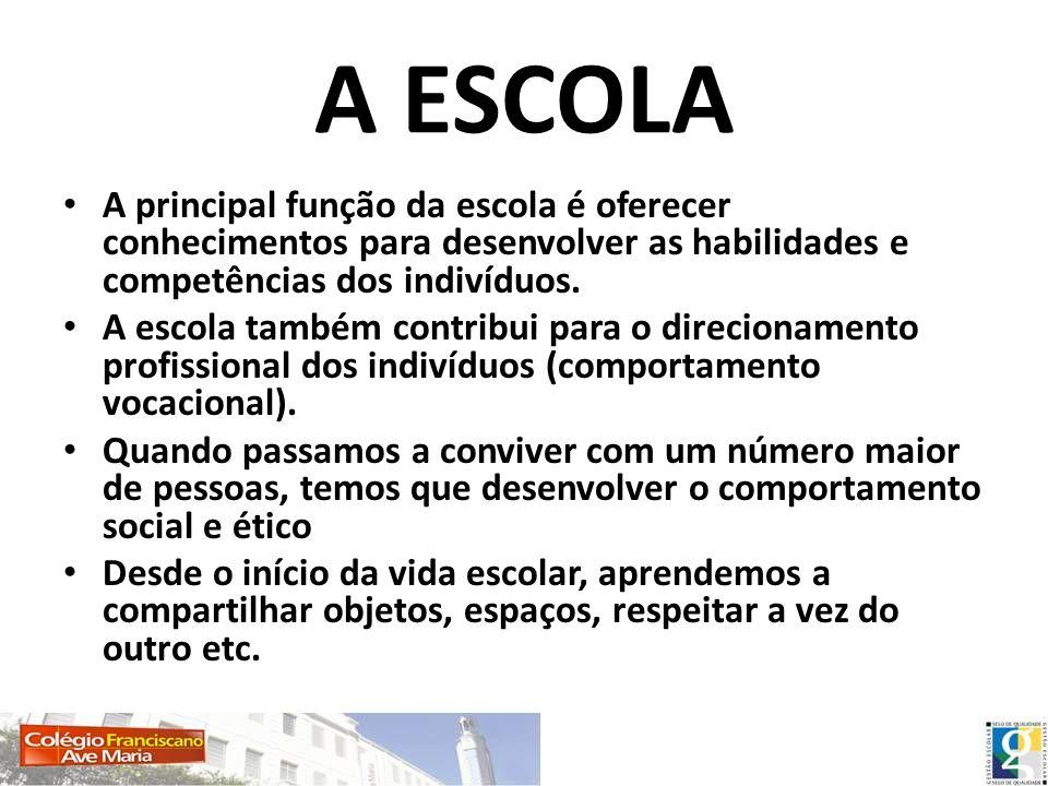 A ESCOLA A principal função da escola é oferecer conhecimentos para desenvolver as habilidades e competências dos indivíduos.