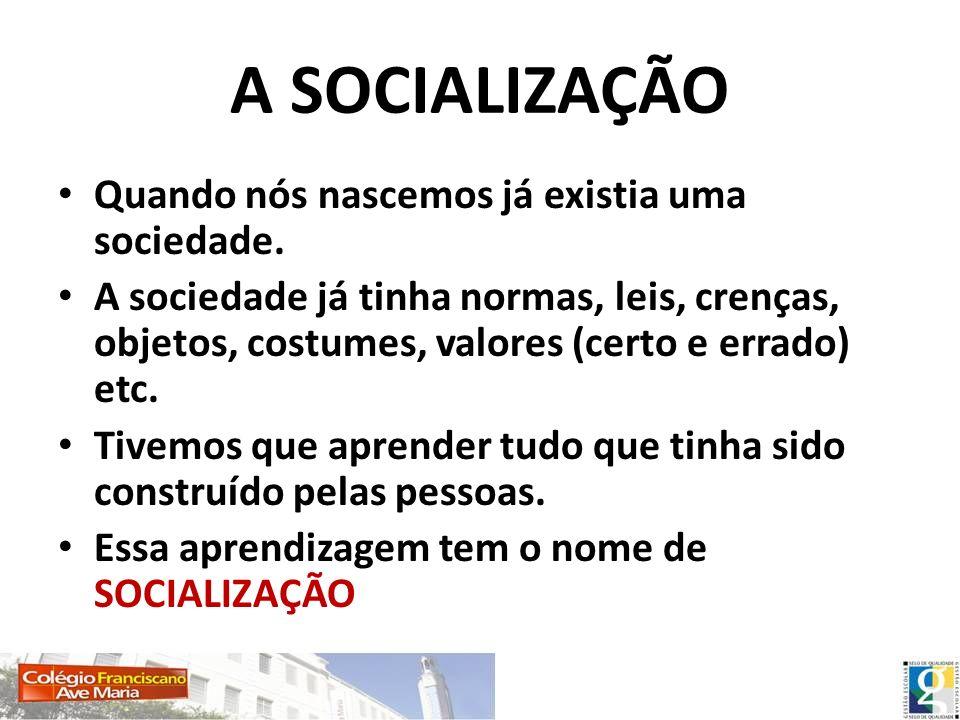 A SOCIALIZAÇÃO Quando nós nascemos já existia uma sociedade.