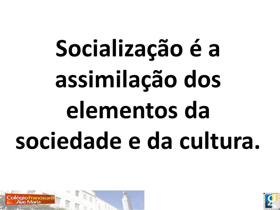 Socialização é a assimilação dos elementos da sociedade e da cultura.