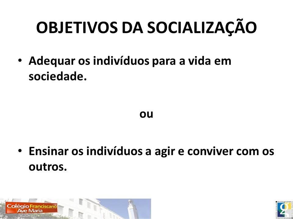 OBJETIVOS DA SOCIALIZAÇÃO