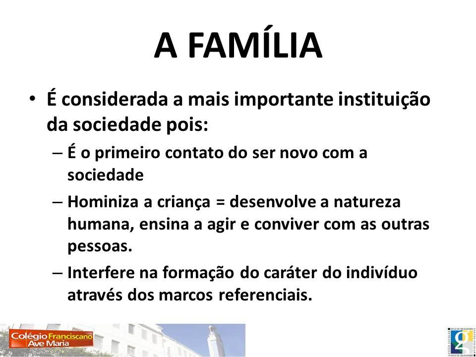 A FAMÍLIA É considerada a mais importante instituição da sociedade pois: É o primeiro contato do ser novo com a sociedade.