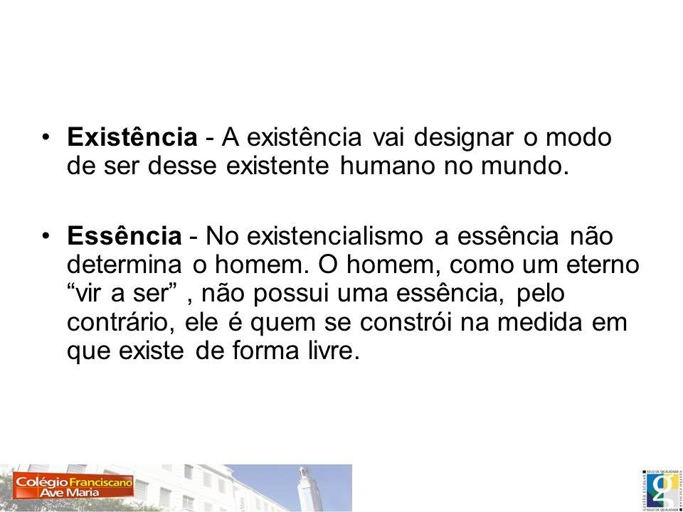 Existência - A existência vai designar o modo de ser desse existente humano no mundo.