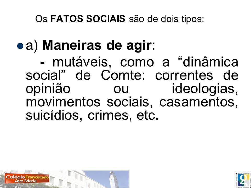 Os FATOS SOCIAIS são de dois tipos: