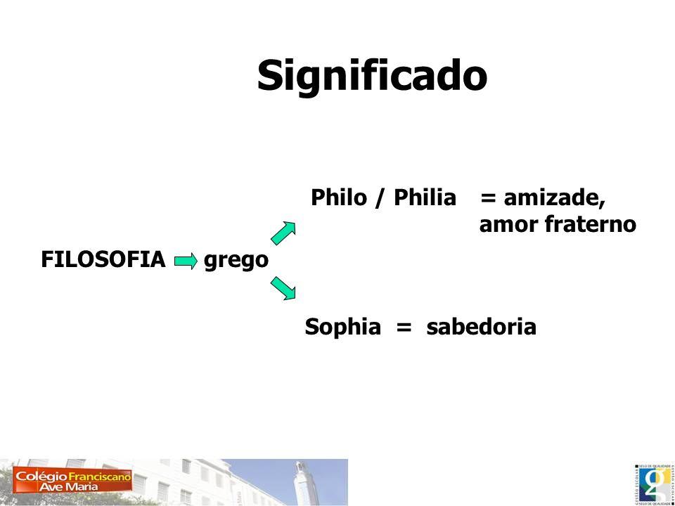 Significado Philo / Philia = amizade, amor fraterno FILOSOFIA grego