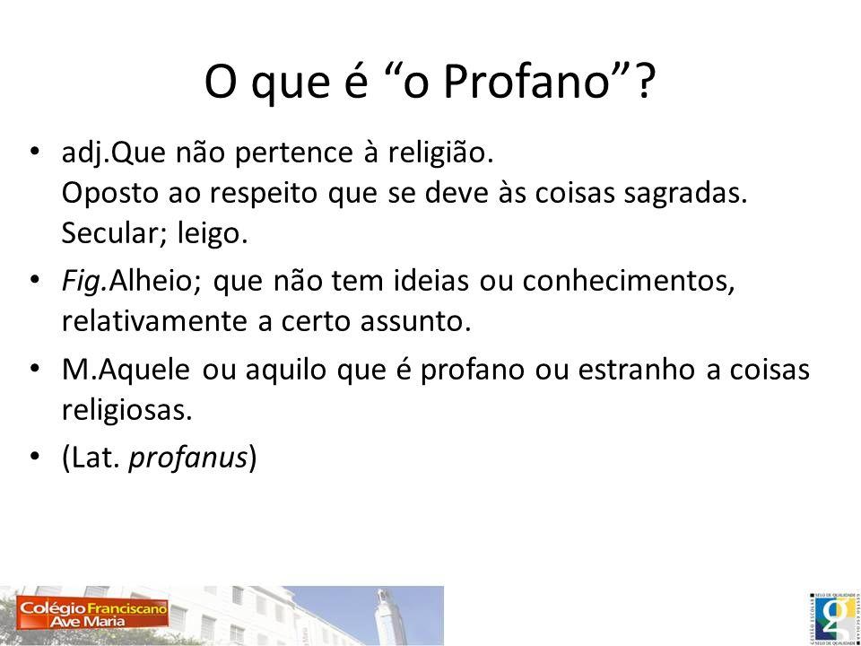 O que é o Profano adj.Que não pertence à religião. Oposto ao respeito que se deve às coisas sagradas. Secular; leigo.