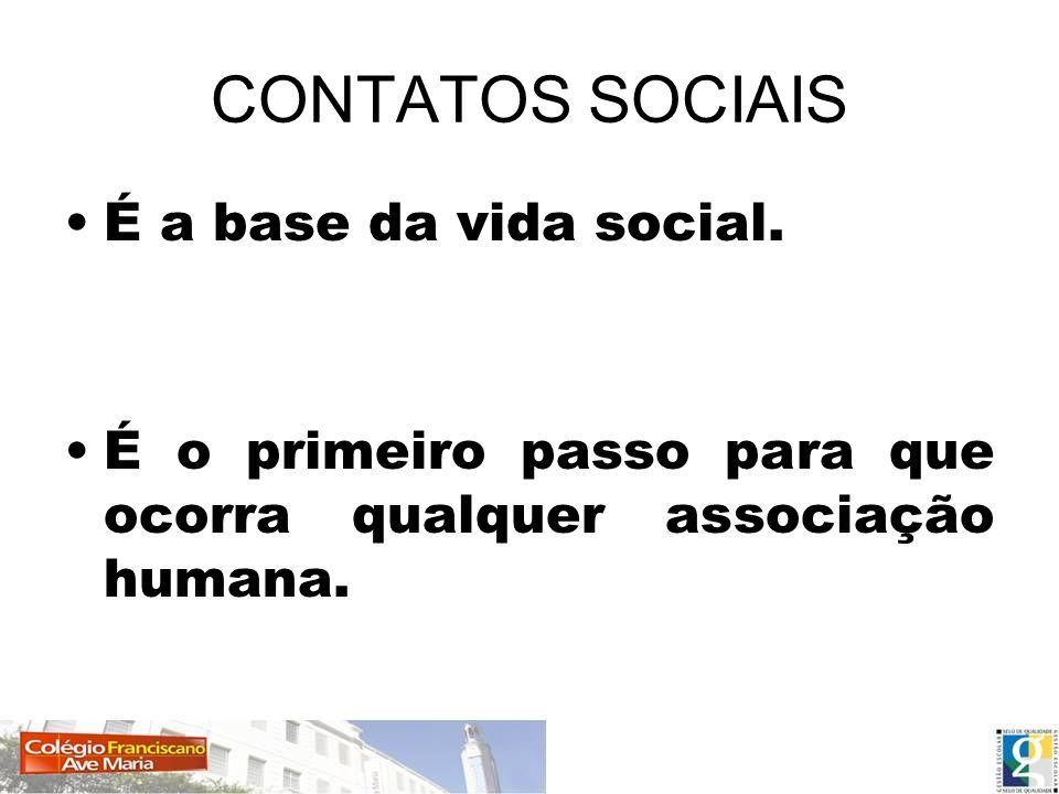 CONTATOS SOCIAIS É a base da vida social.