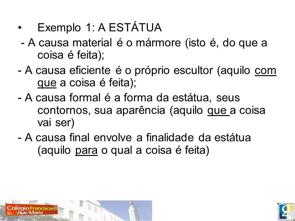 Exemplo 1: A ESTÁTUA - A causa material é o mármore (isto é, do que a coisa é feita);