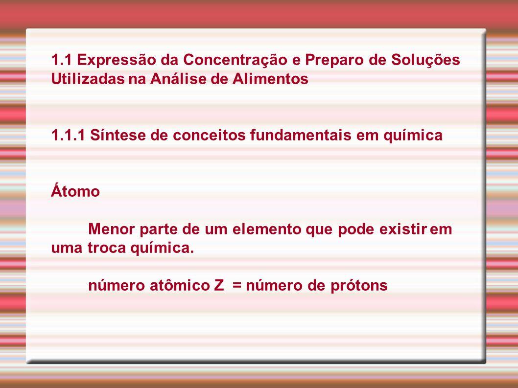 1.1 Expressão da Concentração e Preparo de Soluções Utilizadas na Análise de Alimentos