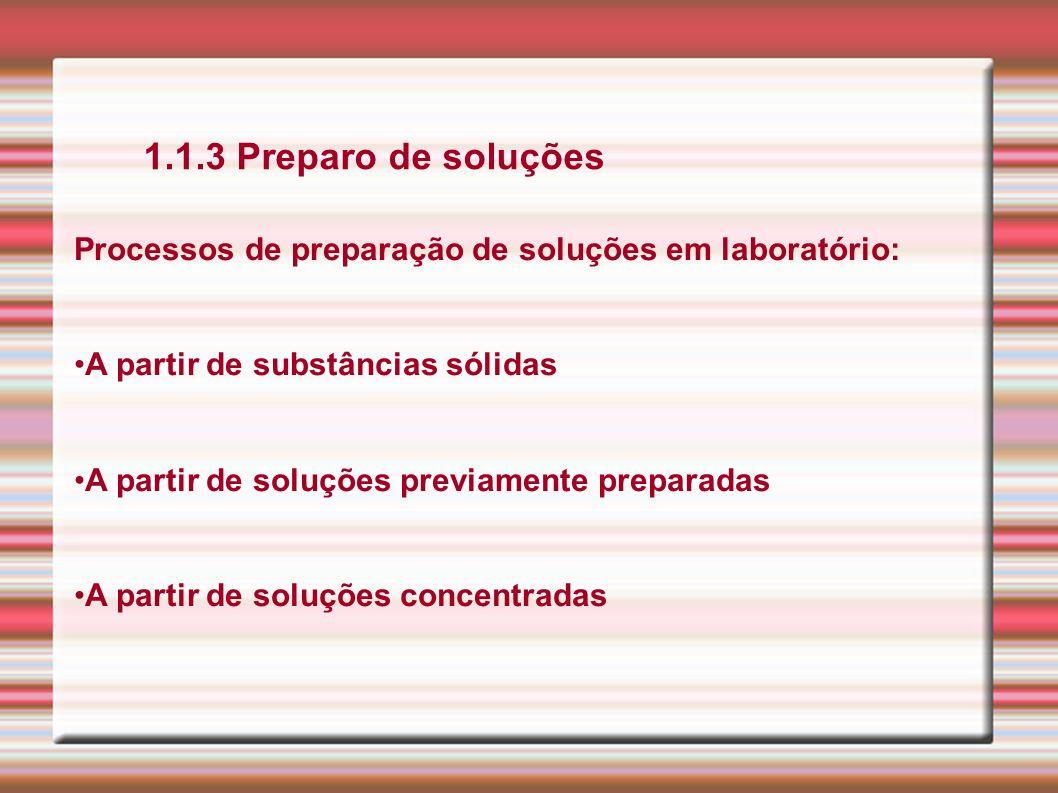 1.1.3 Preparo de soluçõesProcessos de preparação de soluções em laboratório: A partir de substâncias sólidas.