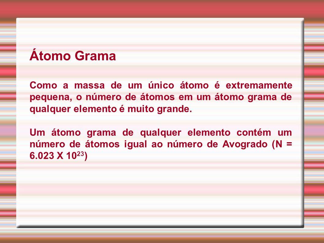 Átomo GramaComo a massa de um único átomo é extremamente pequena, o número de átomos em um átomo grama de qualquer elemento é muito grande.